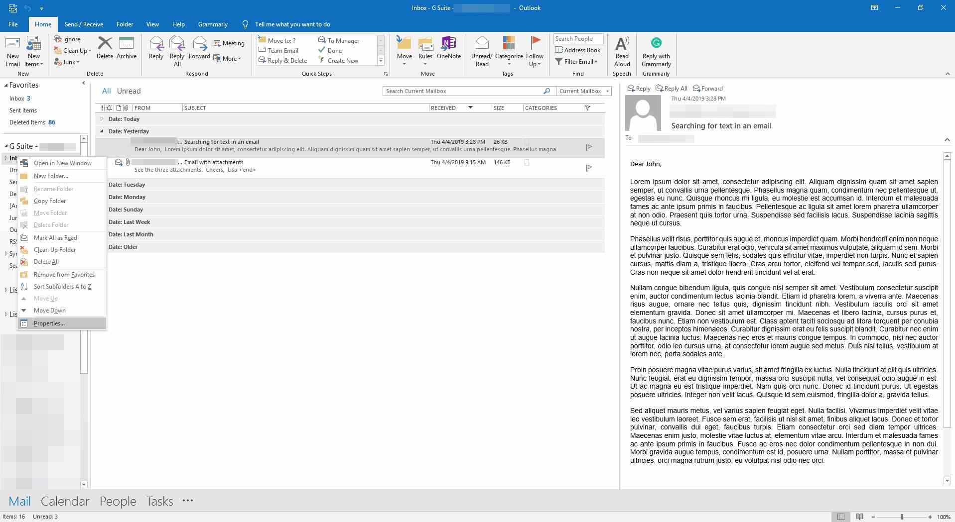 Viewing the context menu for the inbox in Outlook.