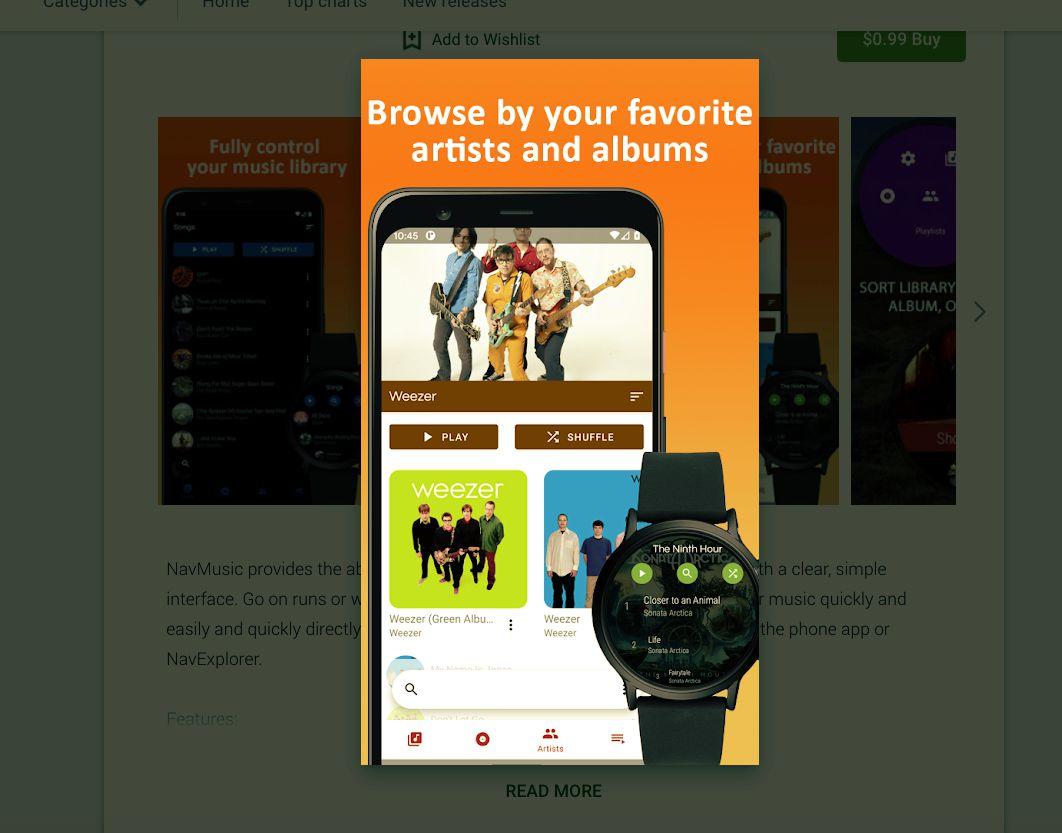 Nav Music Wear OS app