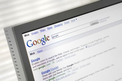 Google search engine on a computer screen