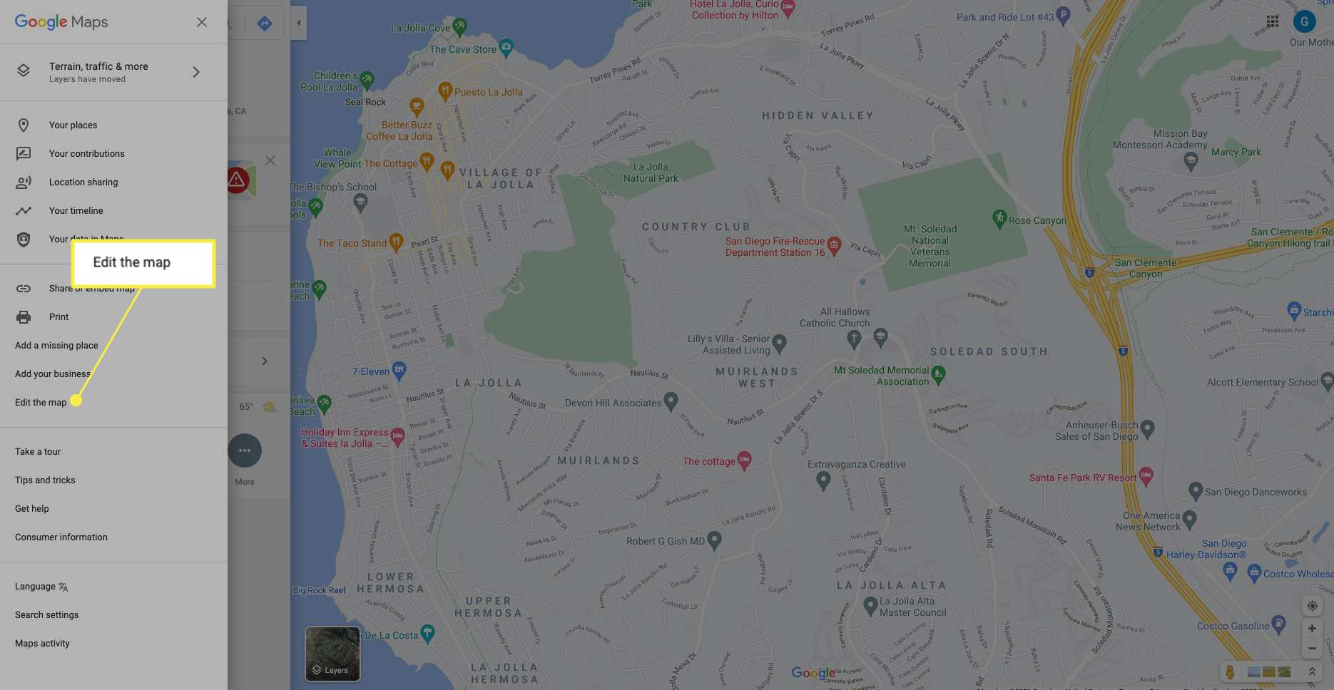 Google Maps Menu with Edit the Map highlighted
