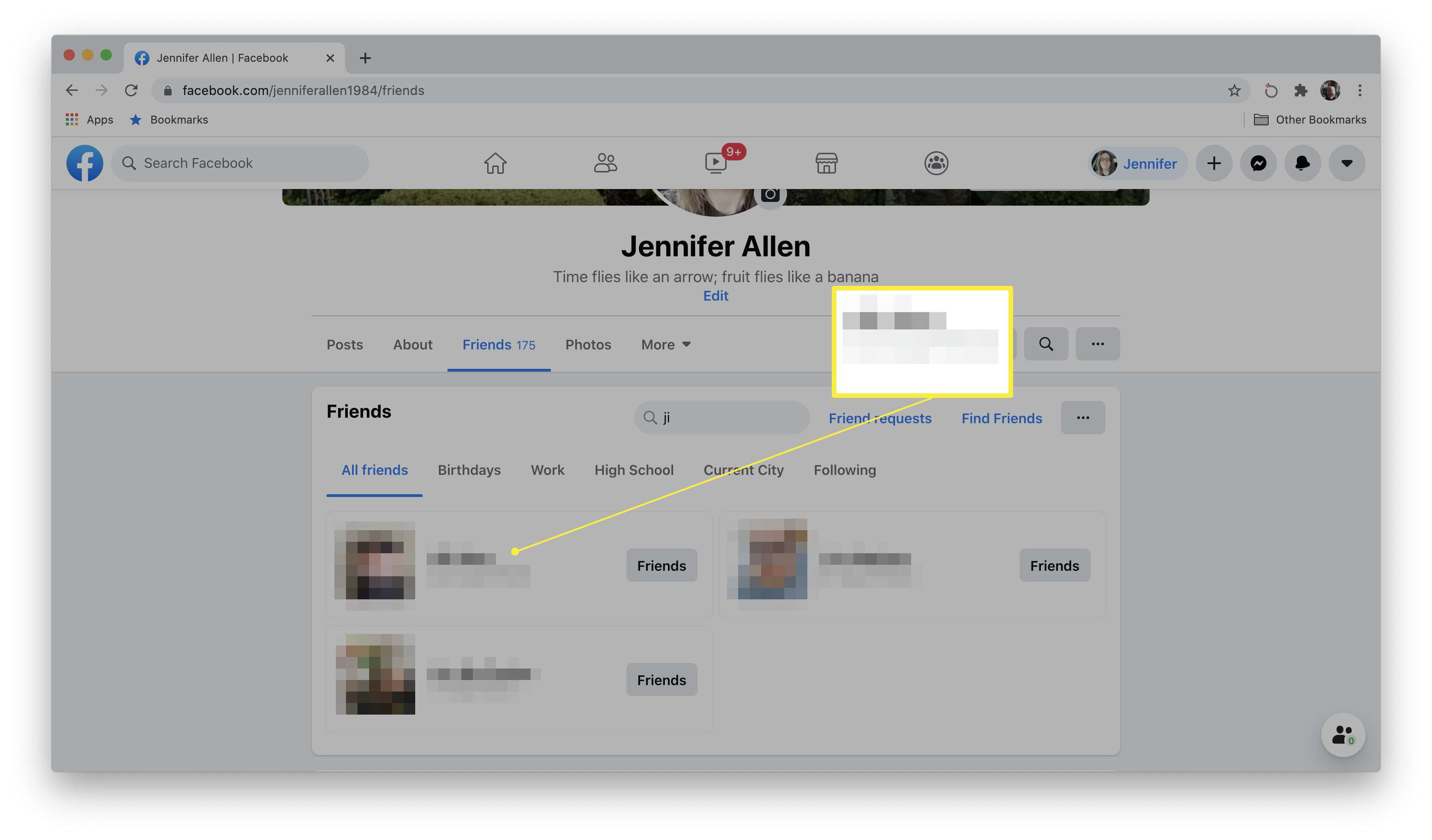 Facebook profile search results with a friend highlighted
