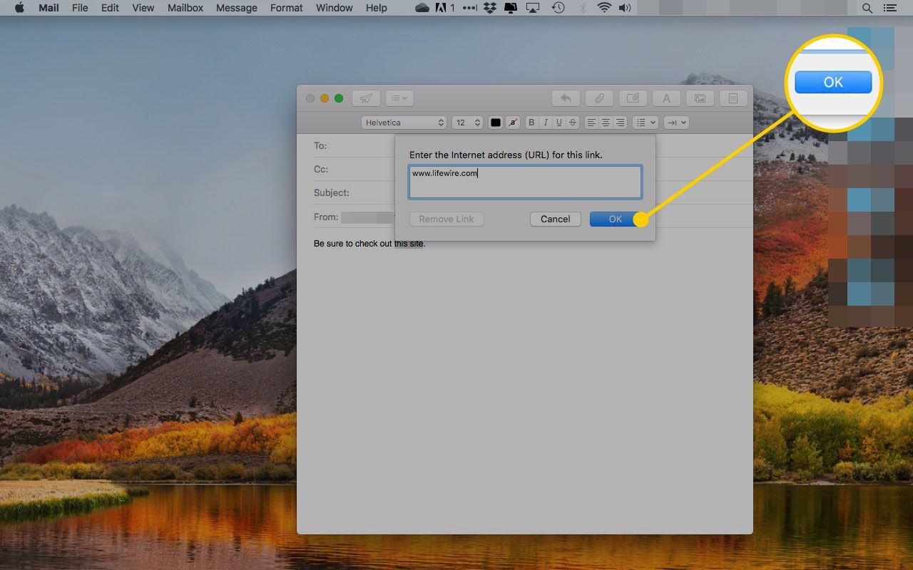 The Add Link dialogue box in Mail for macOS with the OK button highlighted