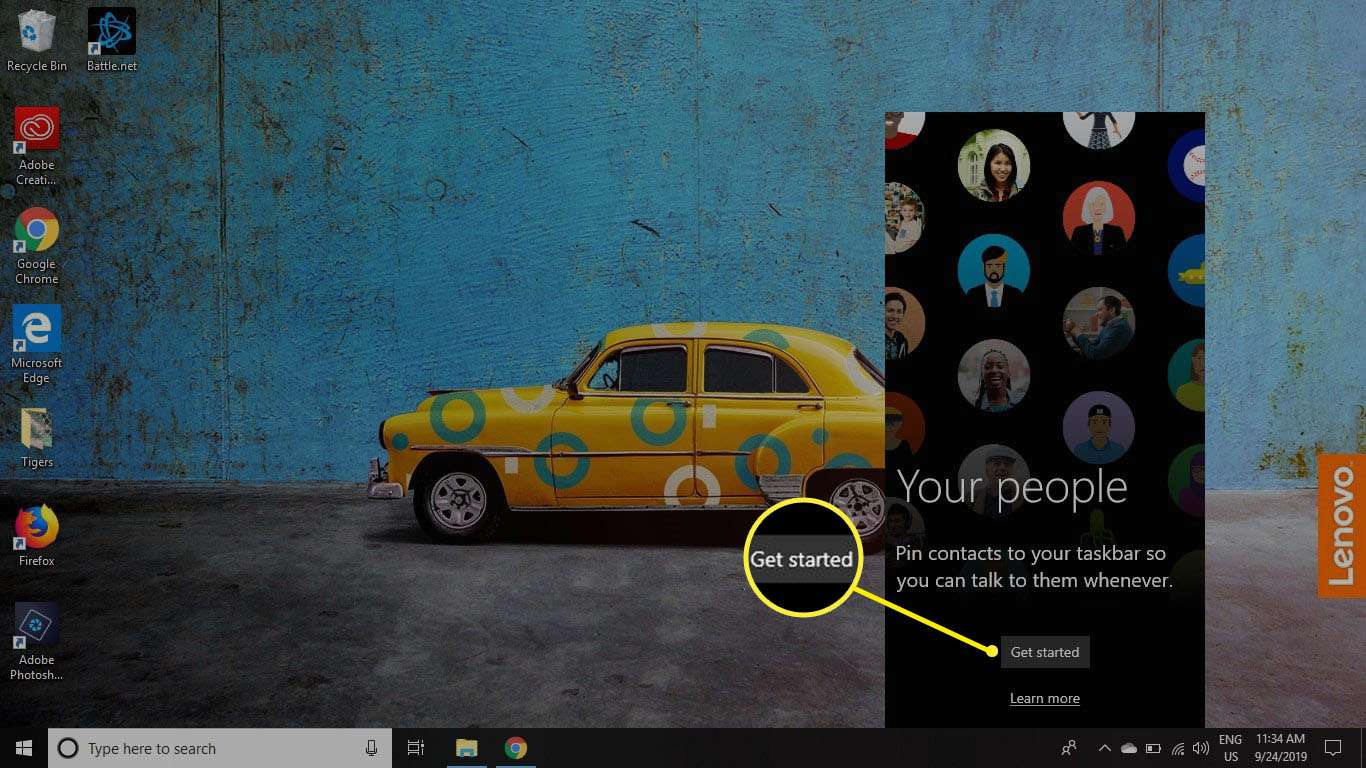 To begin using My People, select the People icon on the taskbar, select Get Started, and then follow the on-screen instructions