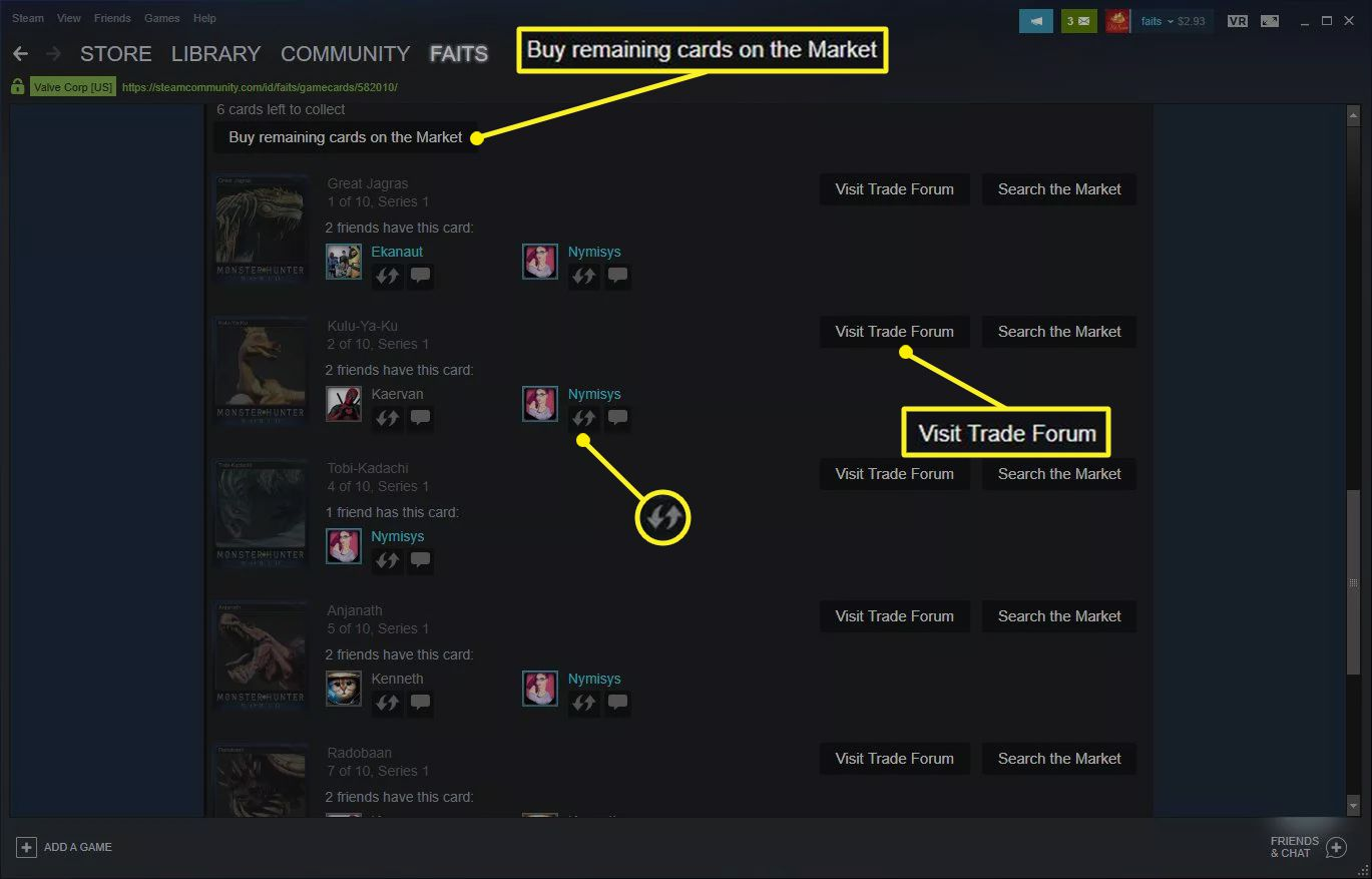 Steam window showing three ways to obtain missing cards
