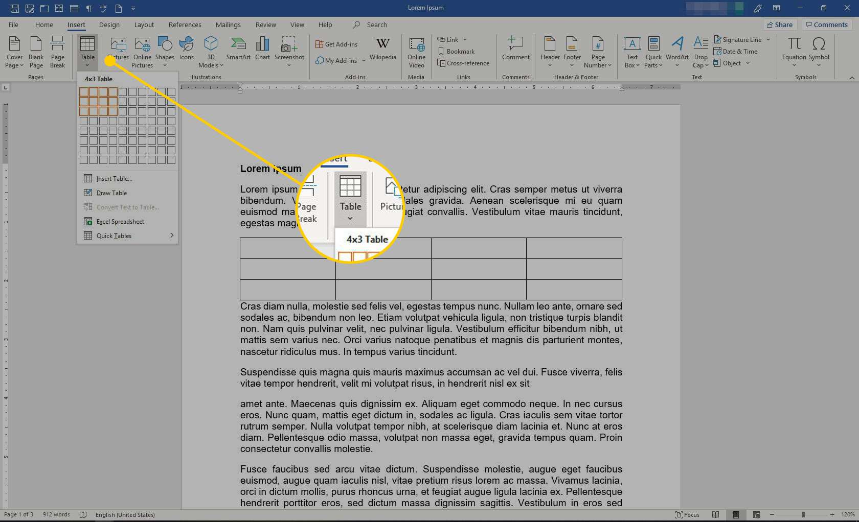 Insert menu in Microsoft Word with the Table option highlighted