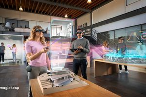 People in an office wearing Magic Leap headsets