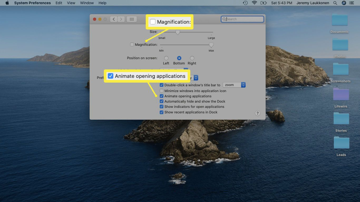 A screenshot of Dock visual effect settings in macOS.