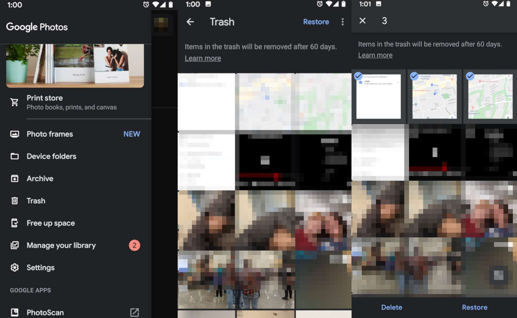 Screenshots depicting how to restore images in Google Photos on Android