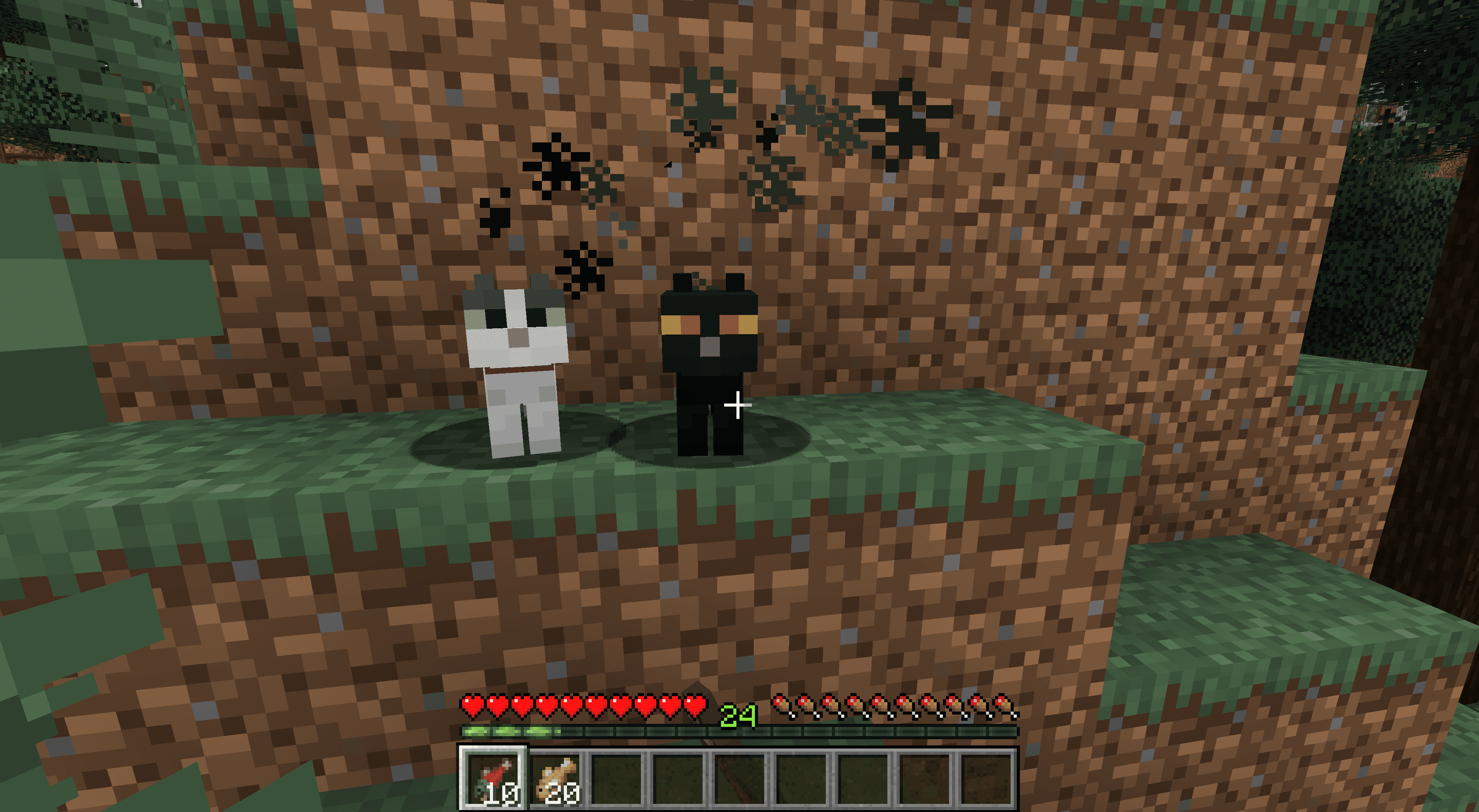 A cat in Minecraft with smoke over its head.