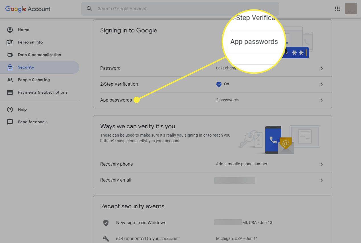 A screenshot of a Google Account page with the App Passwords section highlighted