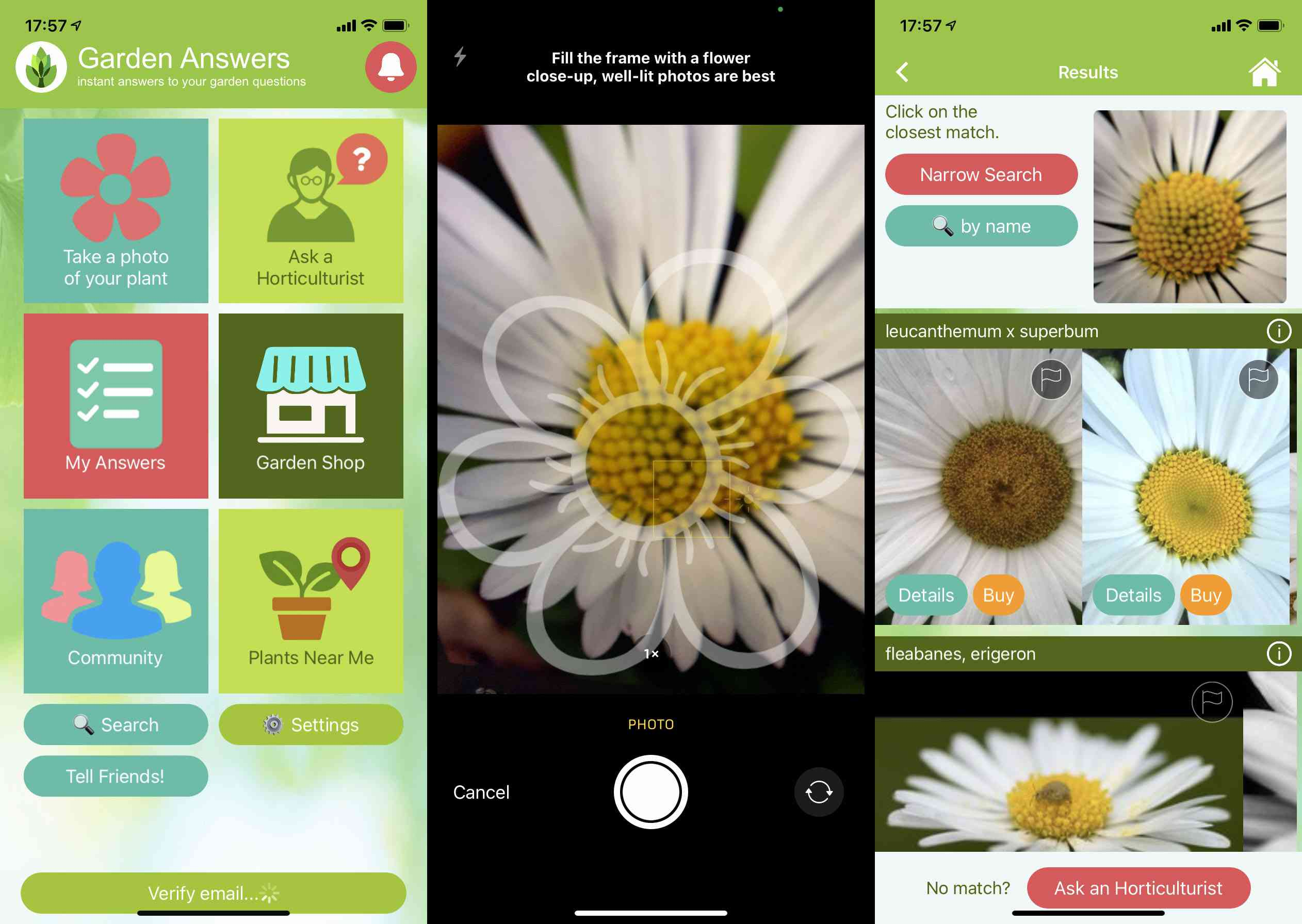 Garden Answers iOS app screenshots