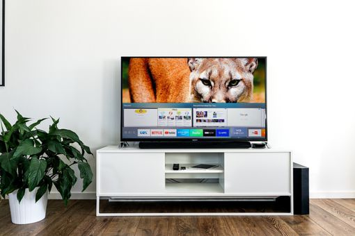 Samsung Web Browser on TV in a living room