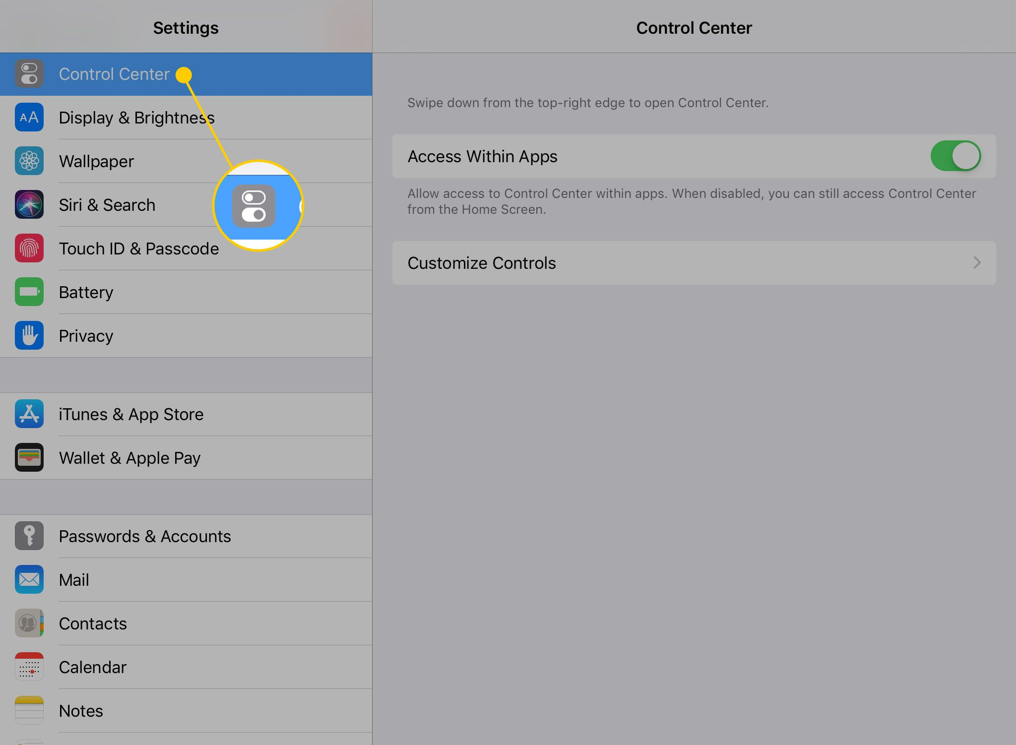 iPad Settings with the Control Center heading highlighted