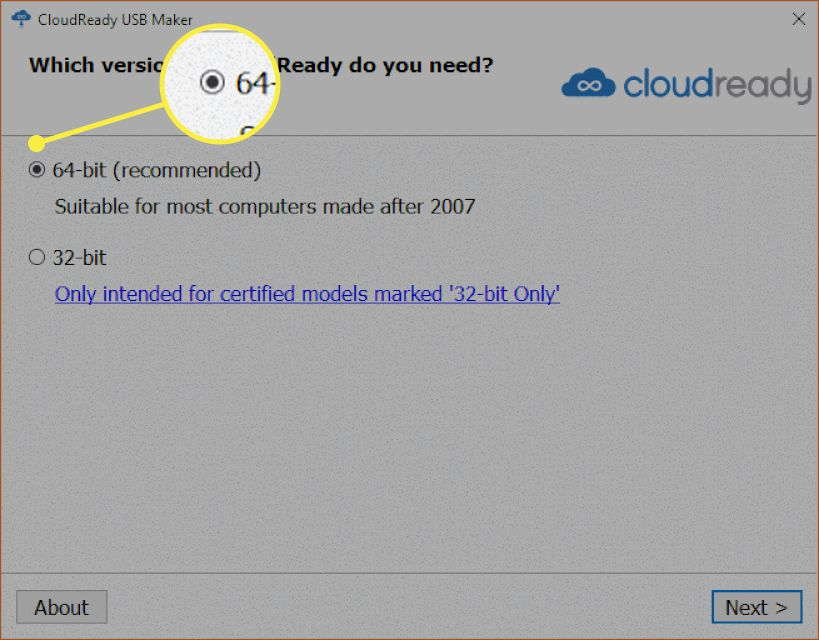 The Cloudready installation window with '64-bit' highlighted