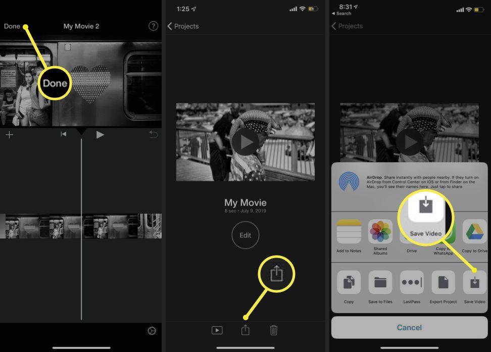 iOS iMovie path to Save Video option