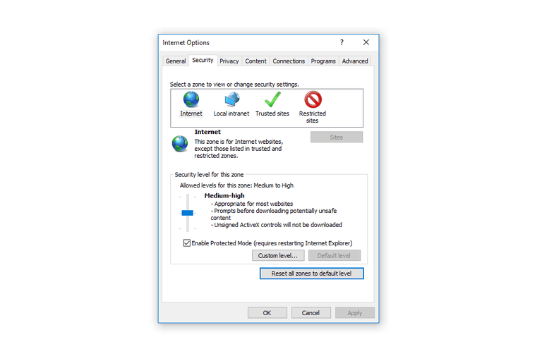 How to Reset IE Security Settings to Default Levels