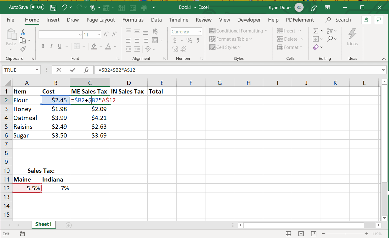 Screenshot of using an absolute column reference in Excel