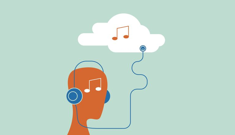 Animated figure listening to music in the cloud