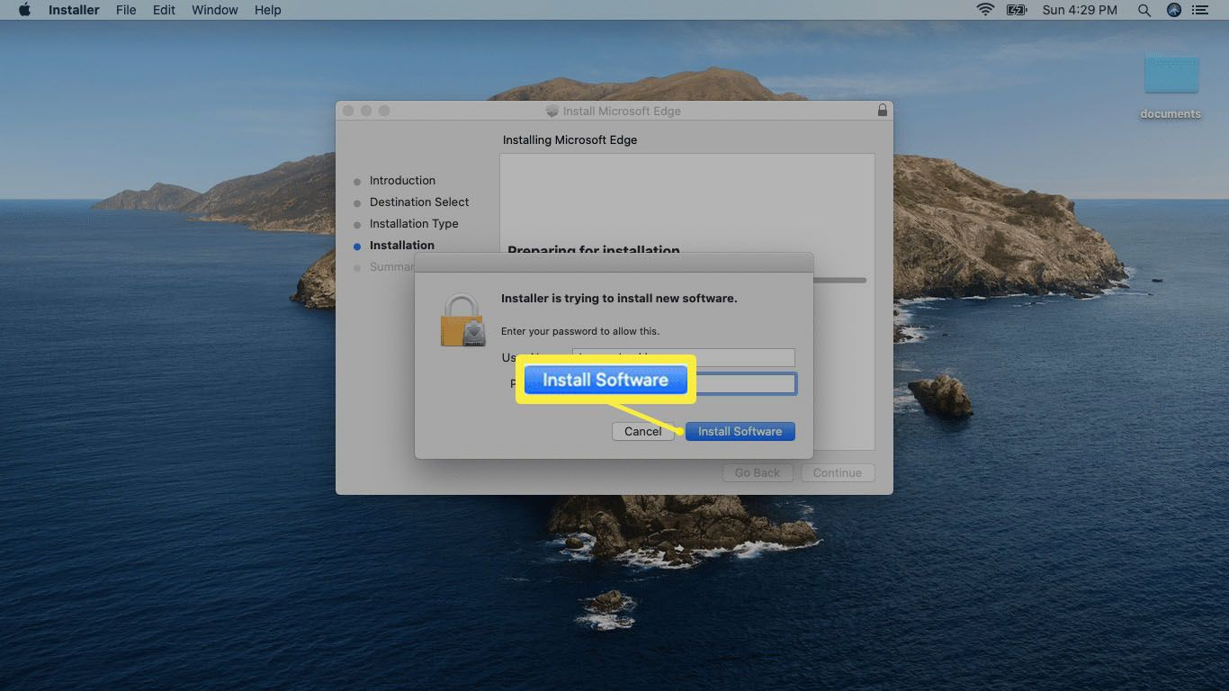A screenshot of giving installation permission on Mac.