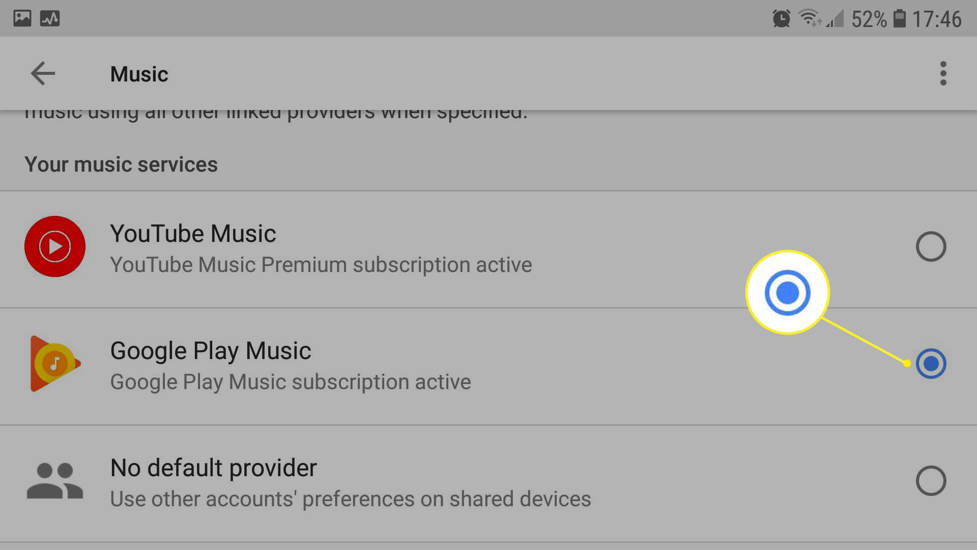 Goggle Assistant screen showing Music service selection