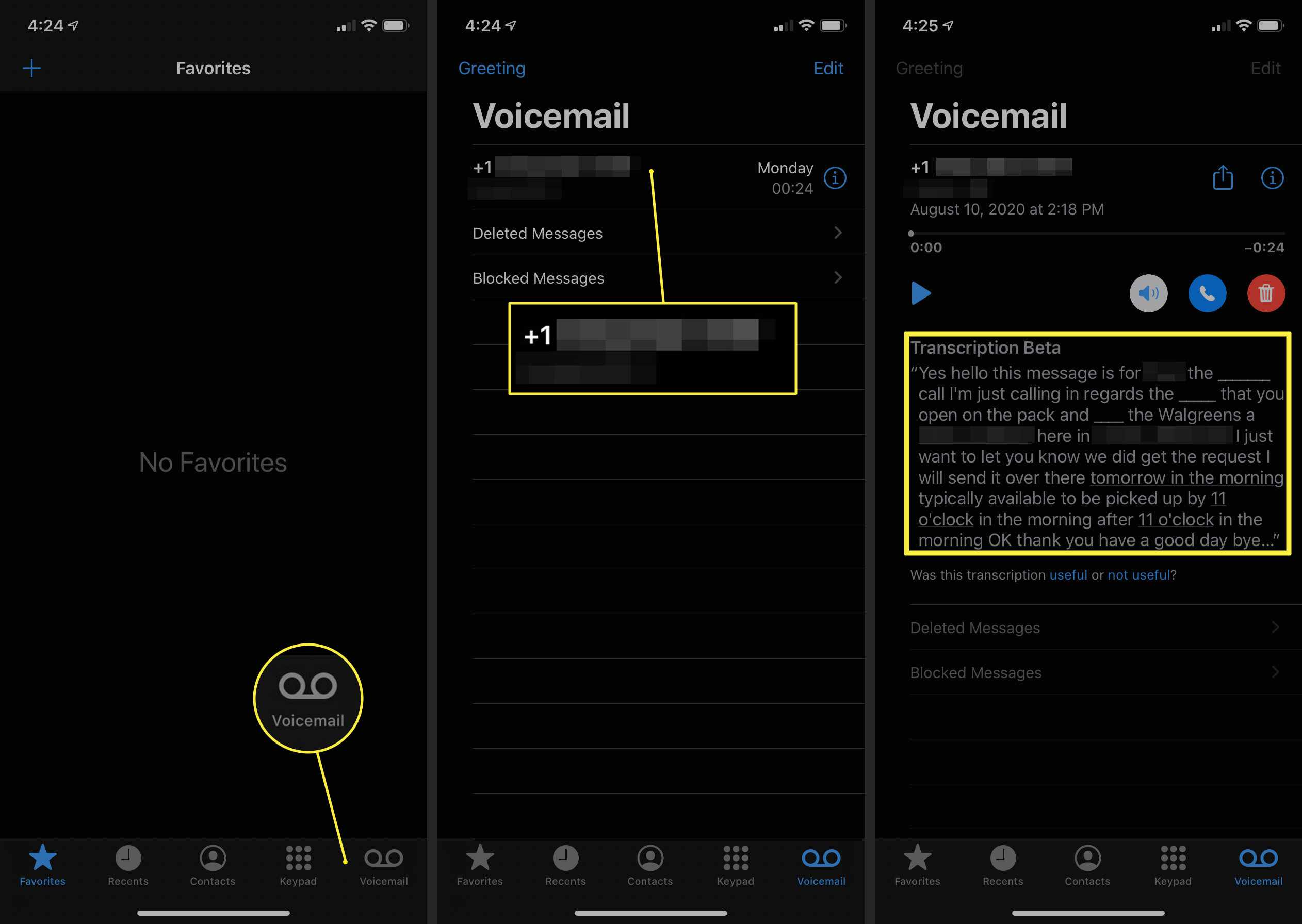 Voicemail view on iPhone