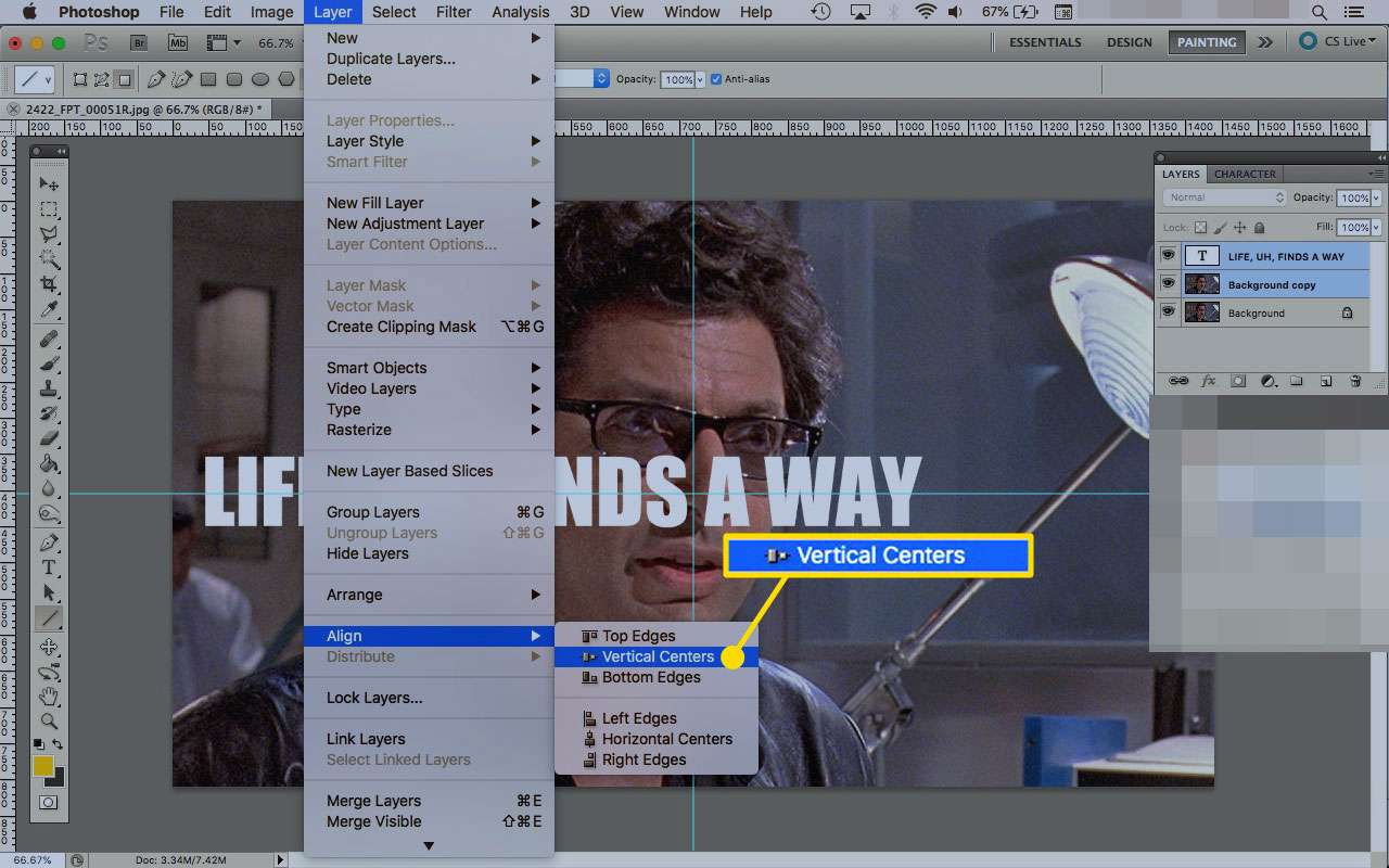 Align by Vertical Centers option in Photoshop