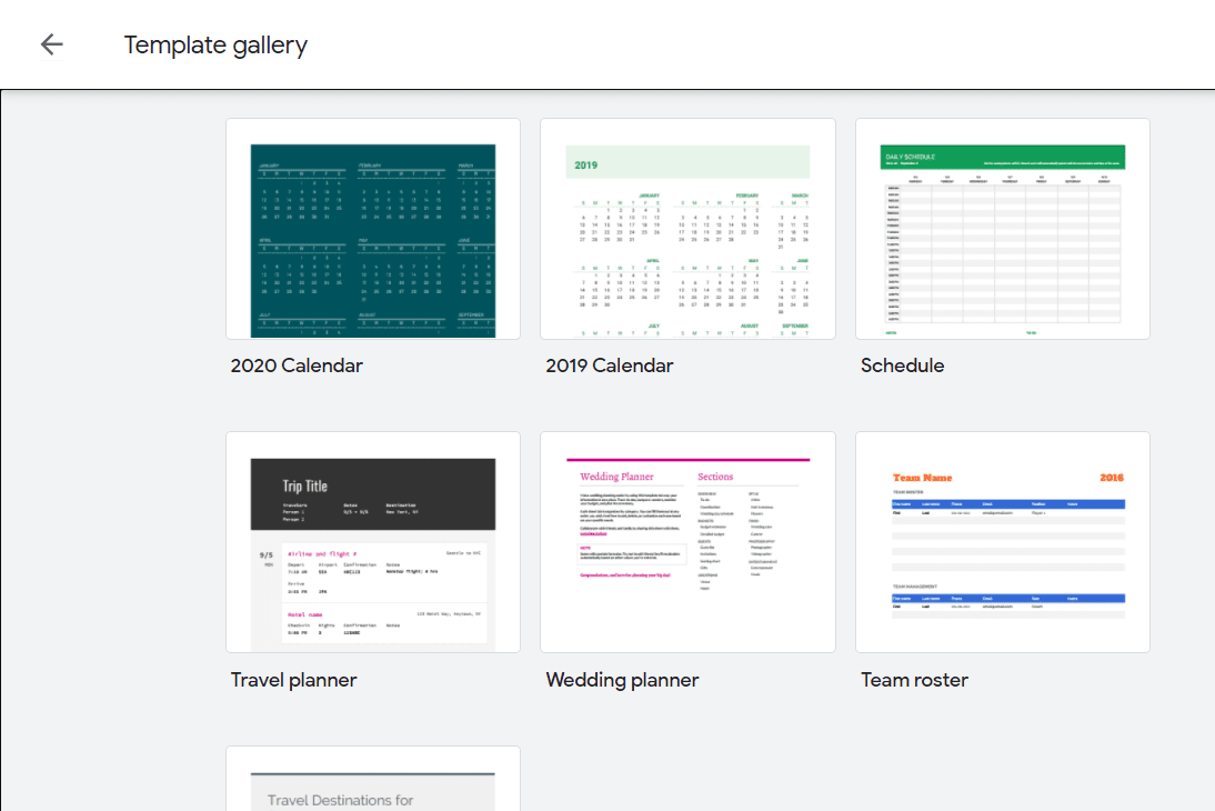 Screenshot of Google Sheets calendar templates