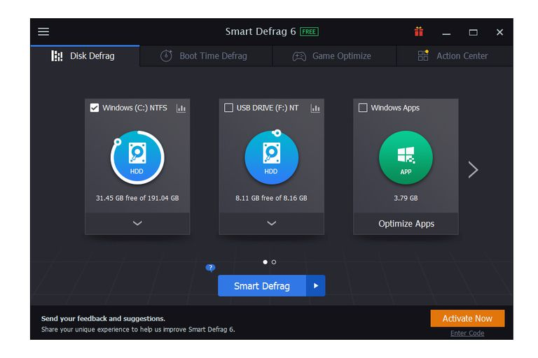 Screenshot of Smart Defrag v6 in Windows 10