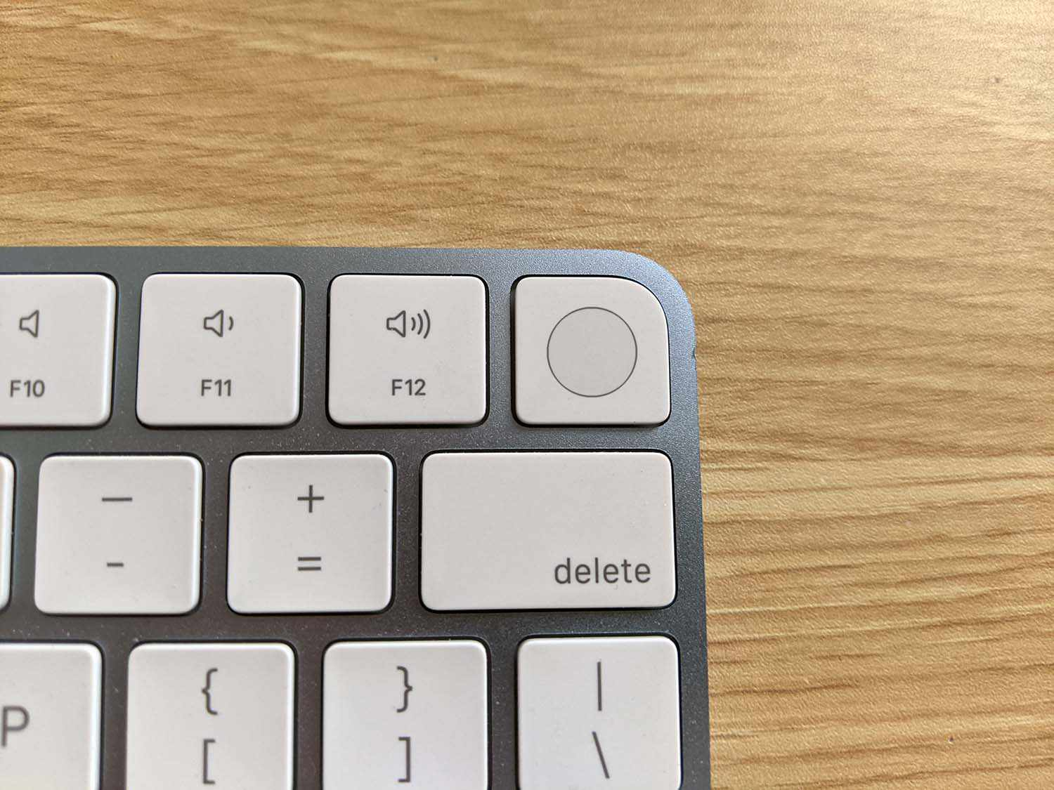 The Touch ID button on an Apple Magic Keyboard.