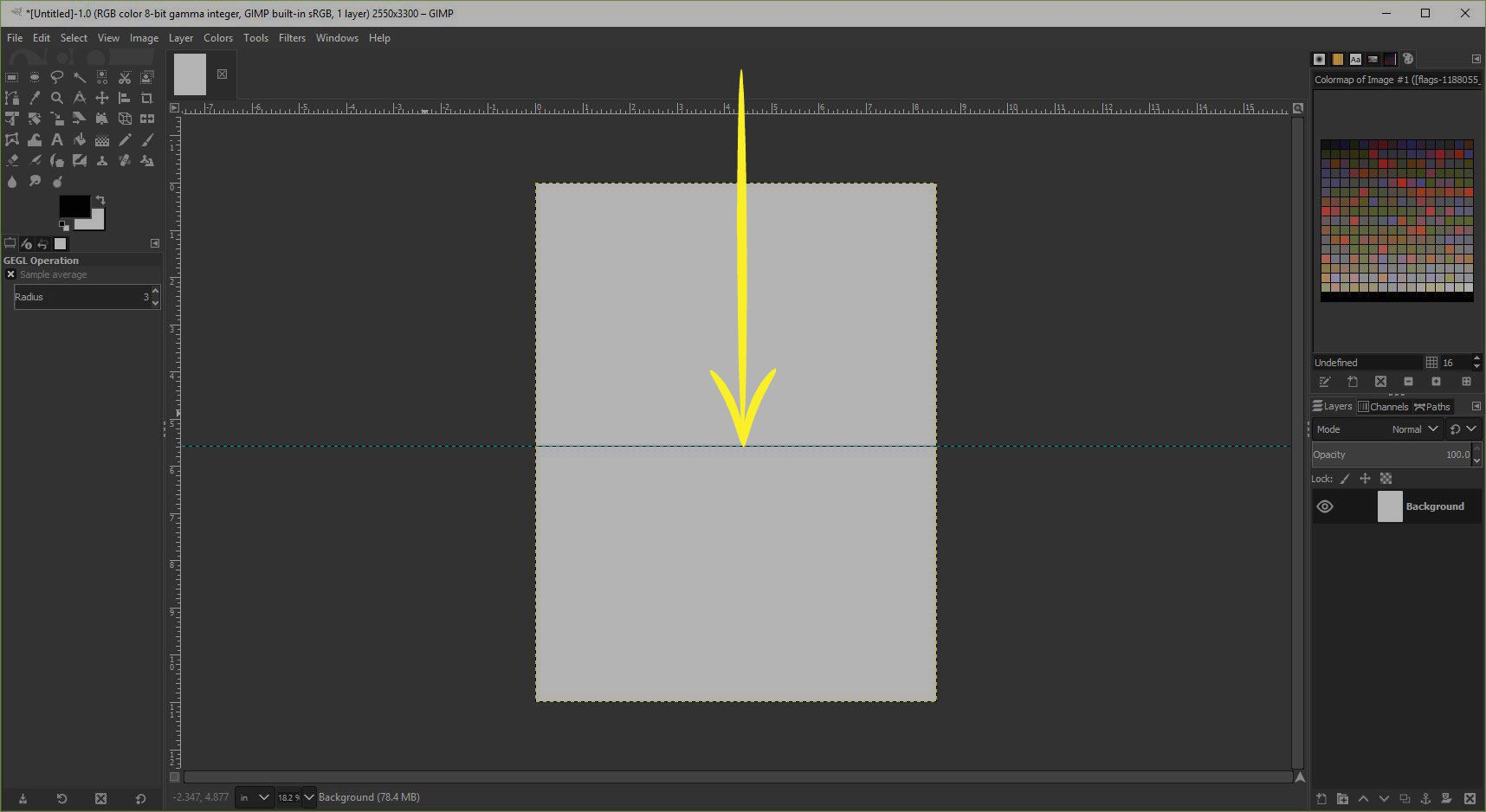 A screenshot of GIMP showing how to add a guide