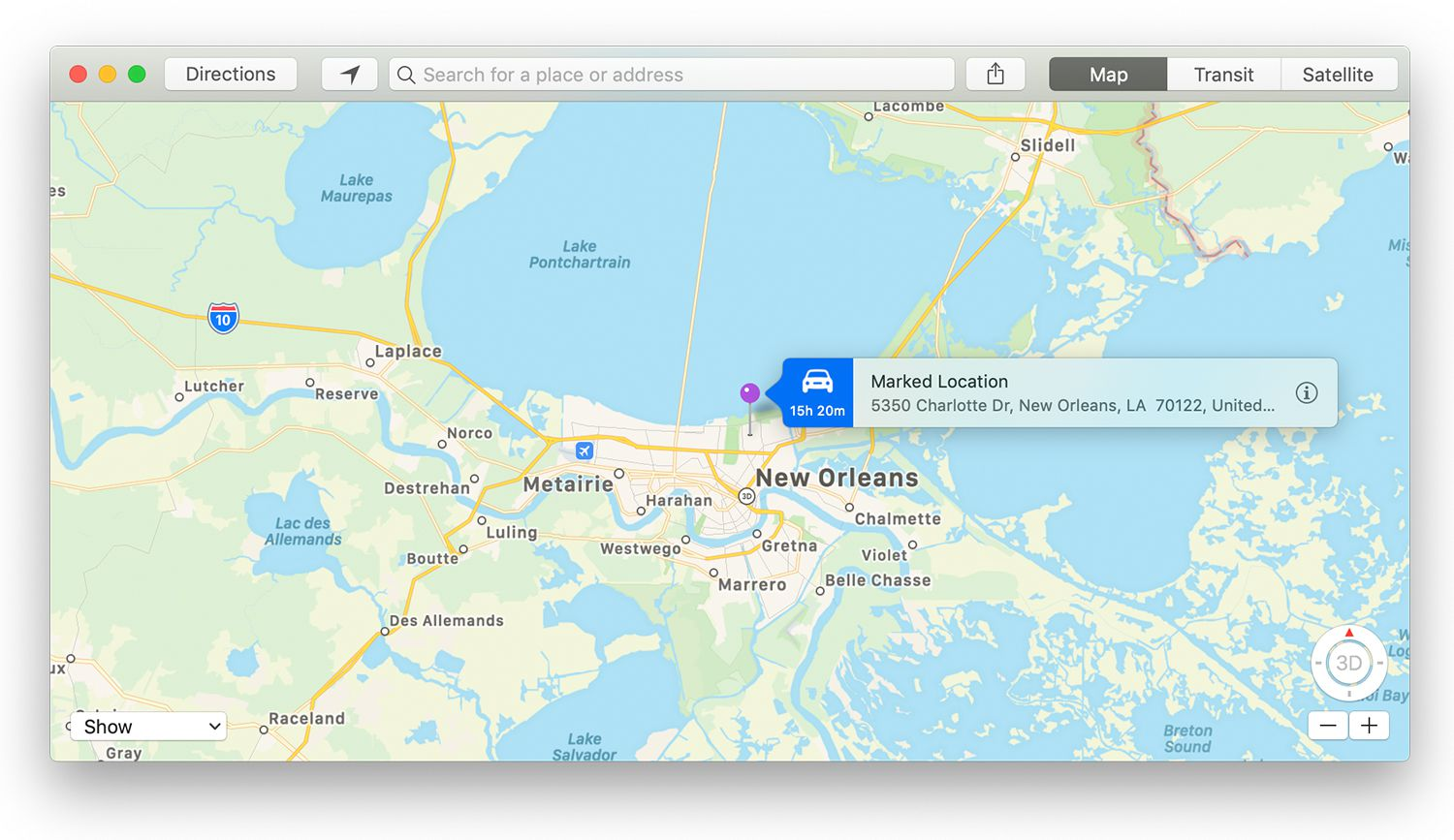 Marked Location information flag in Mac Maps