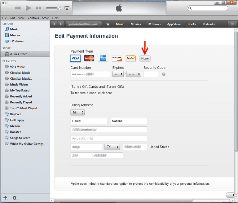 Editing the credit card information in iTunes.