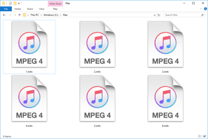 Screenshot of several M4V files in Windows 10 that open with iTunes