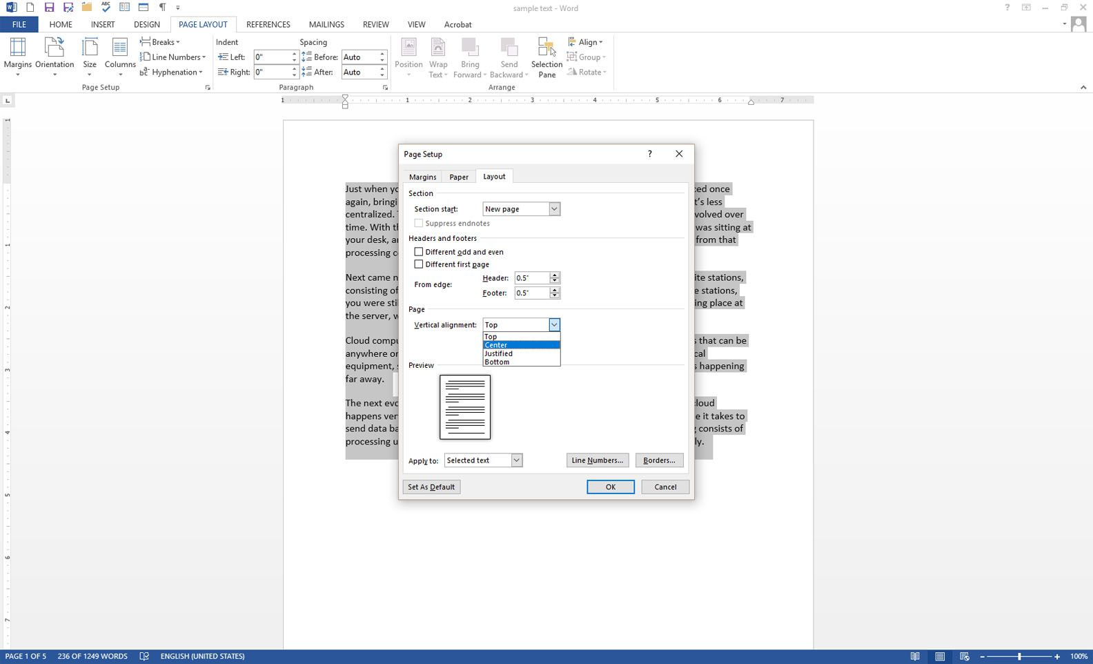 microsoft word with the page setup dialog box displayed
