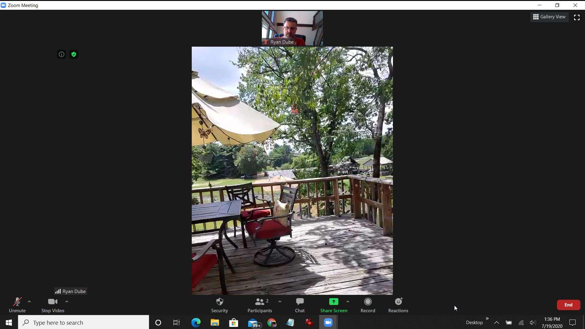 Screenshot of launching a Zoom meeting