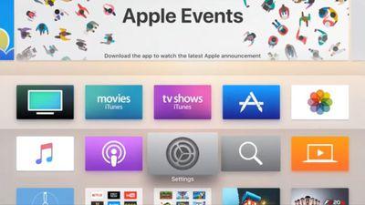 Apple TV home screen.
