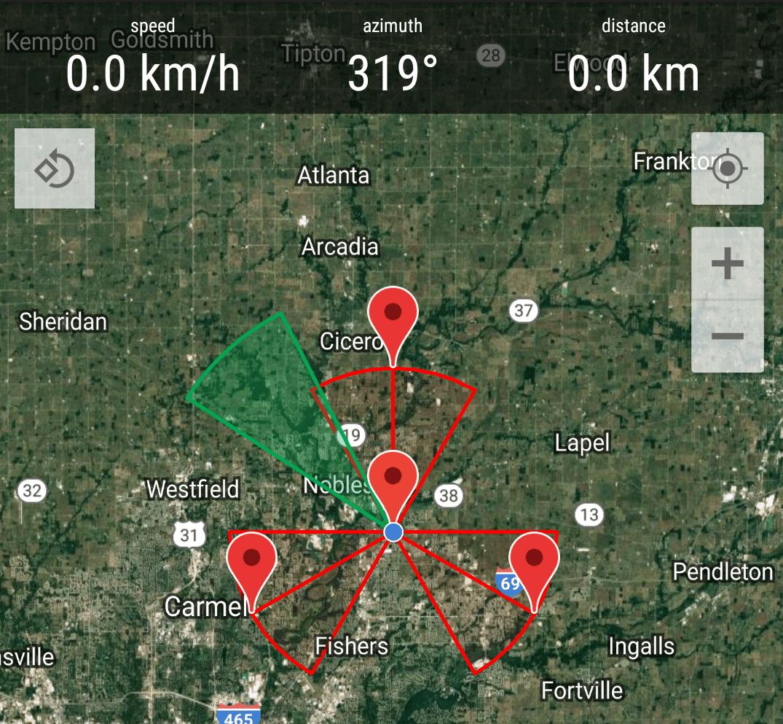 A screenshot of the Antenna Pointer app