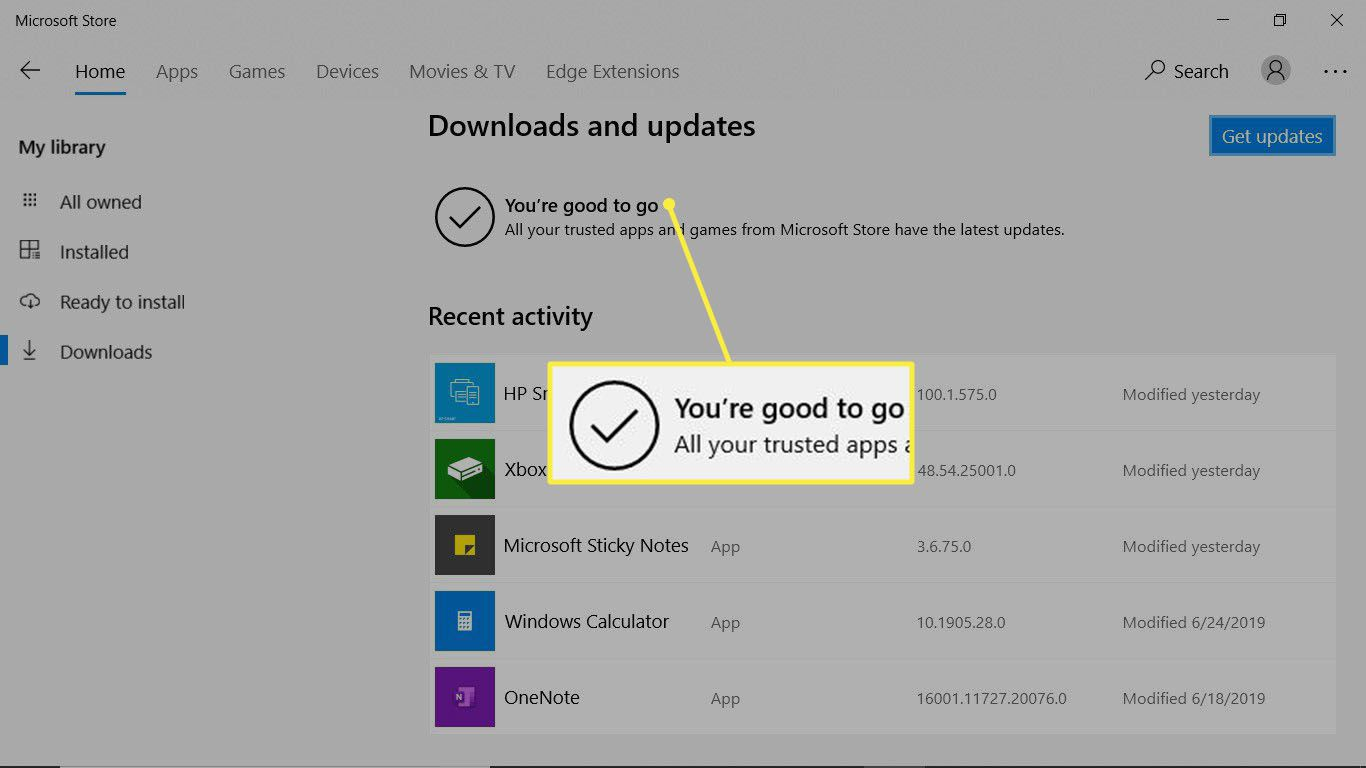 The Windows downloads and updates is complete and OneNote is good to go