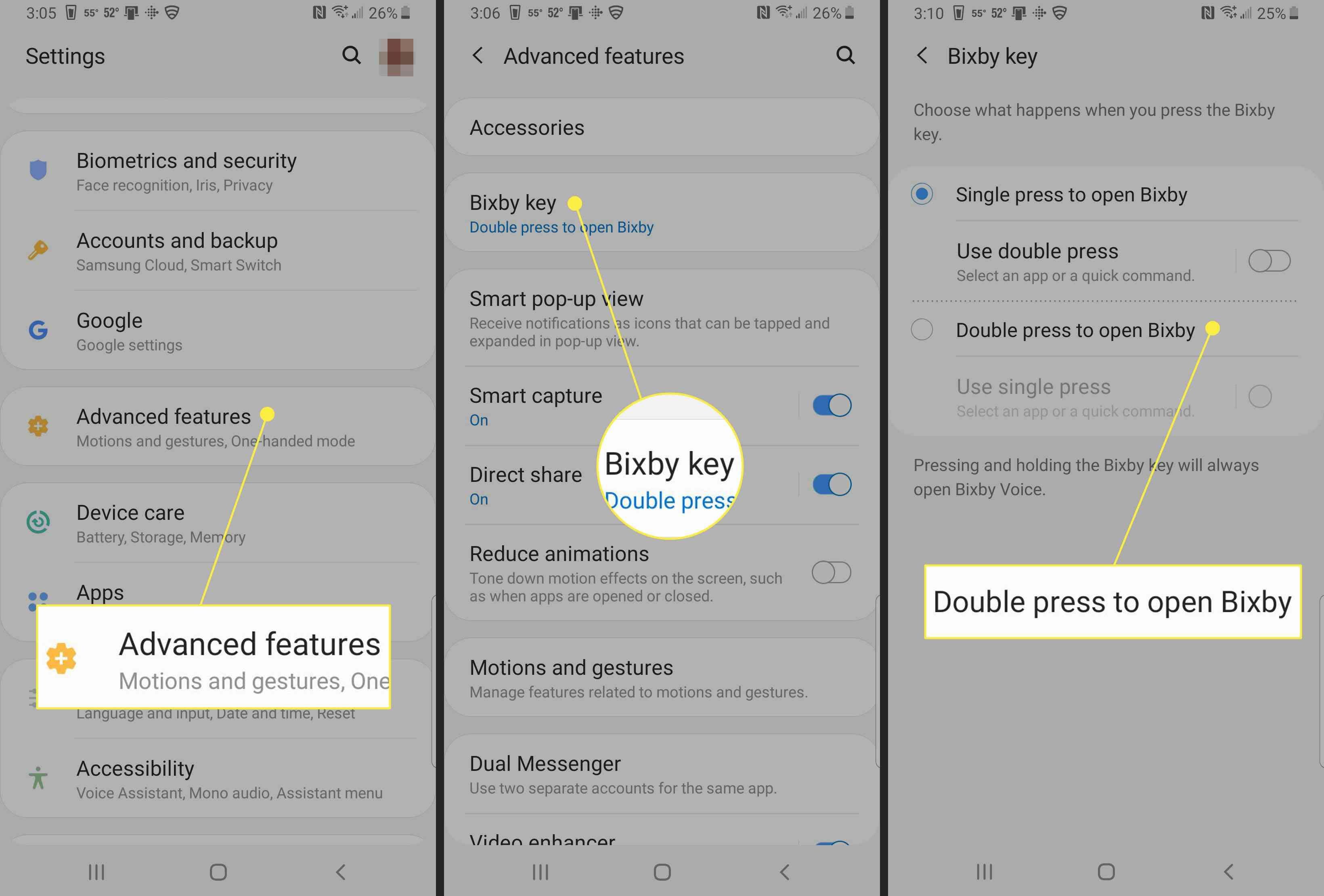 change Bixby key settings.