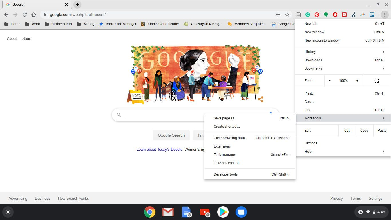 Google Chrome with main menu and sub-menu displayed