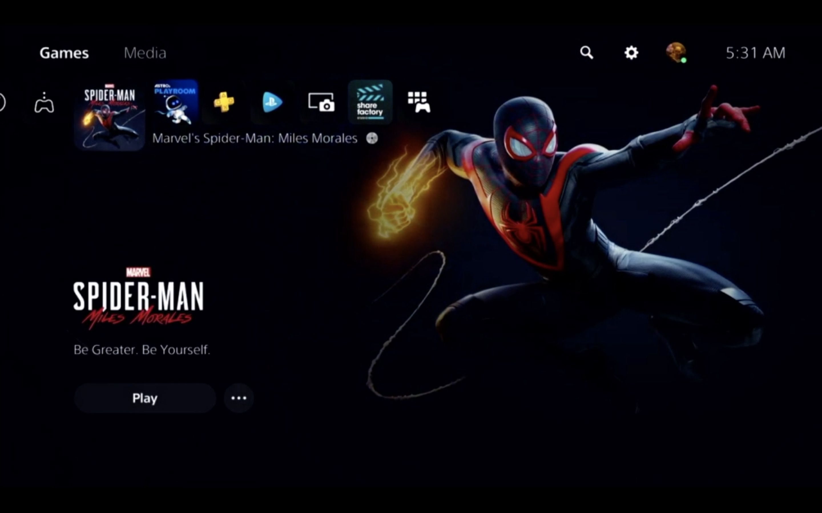 The PS5 home screen in the Remote Play app