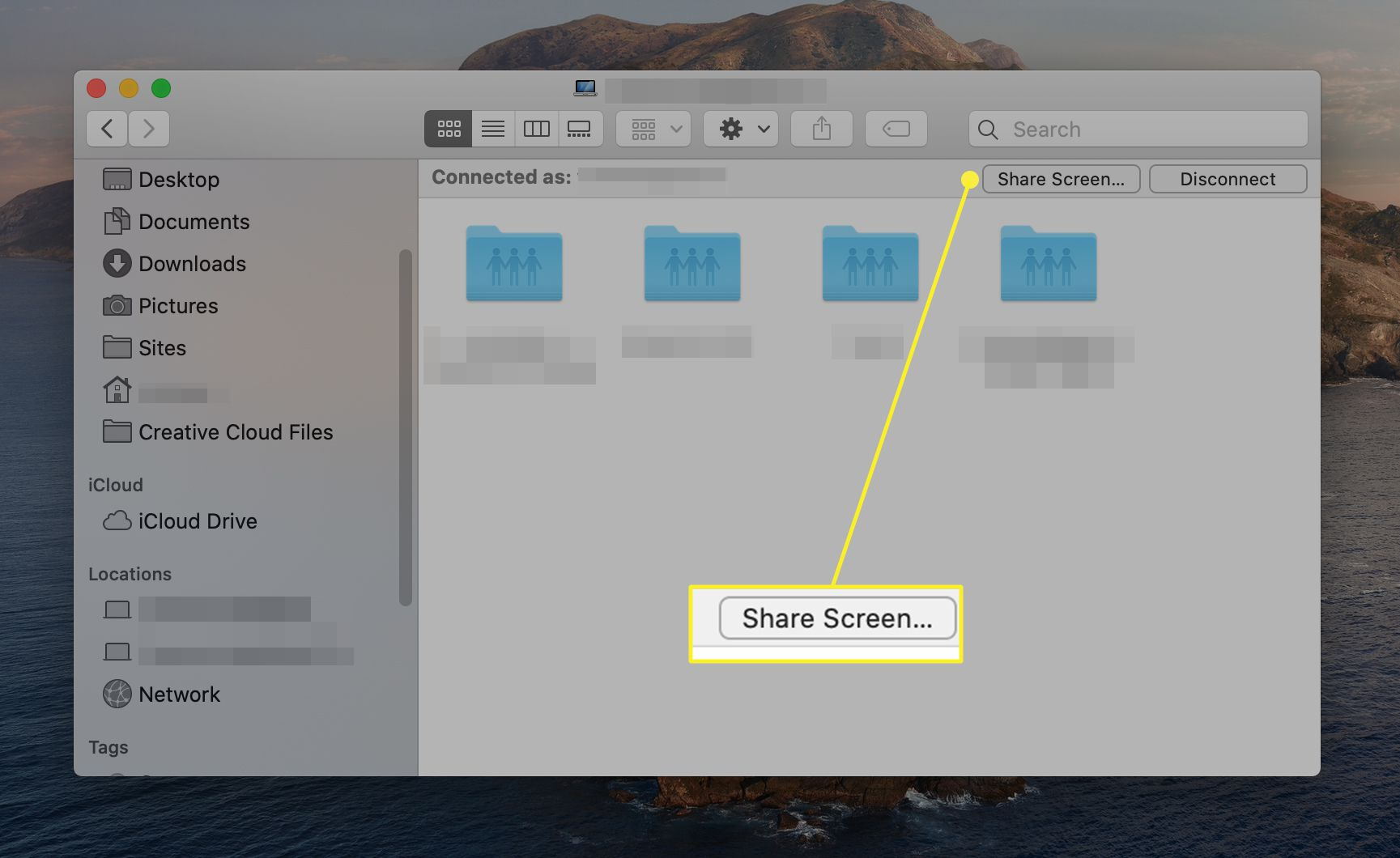 Share screen button for Macs logged in with the same Apple ID