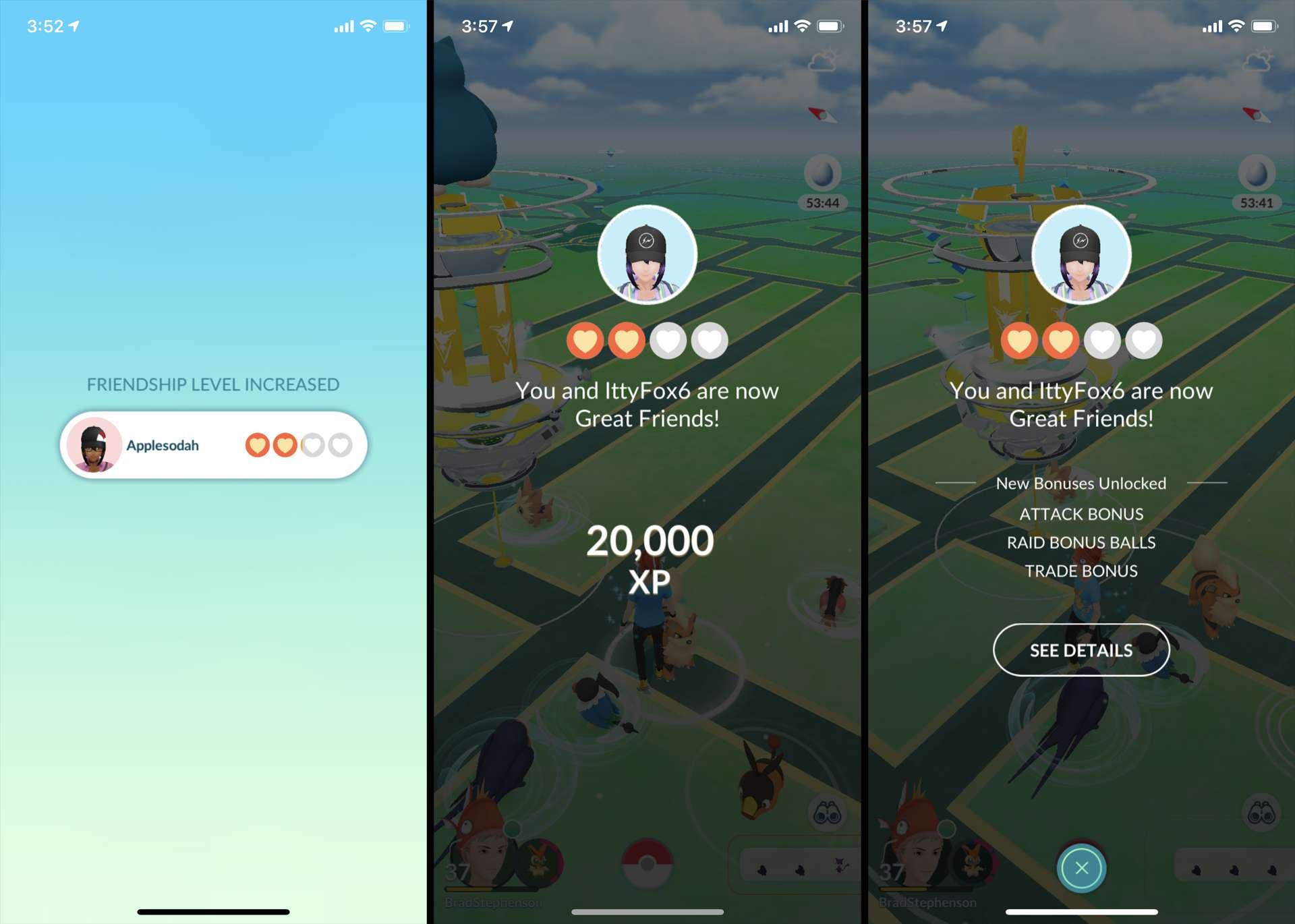 Screenshot of friend connections and XP in Pokemon GO.