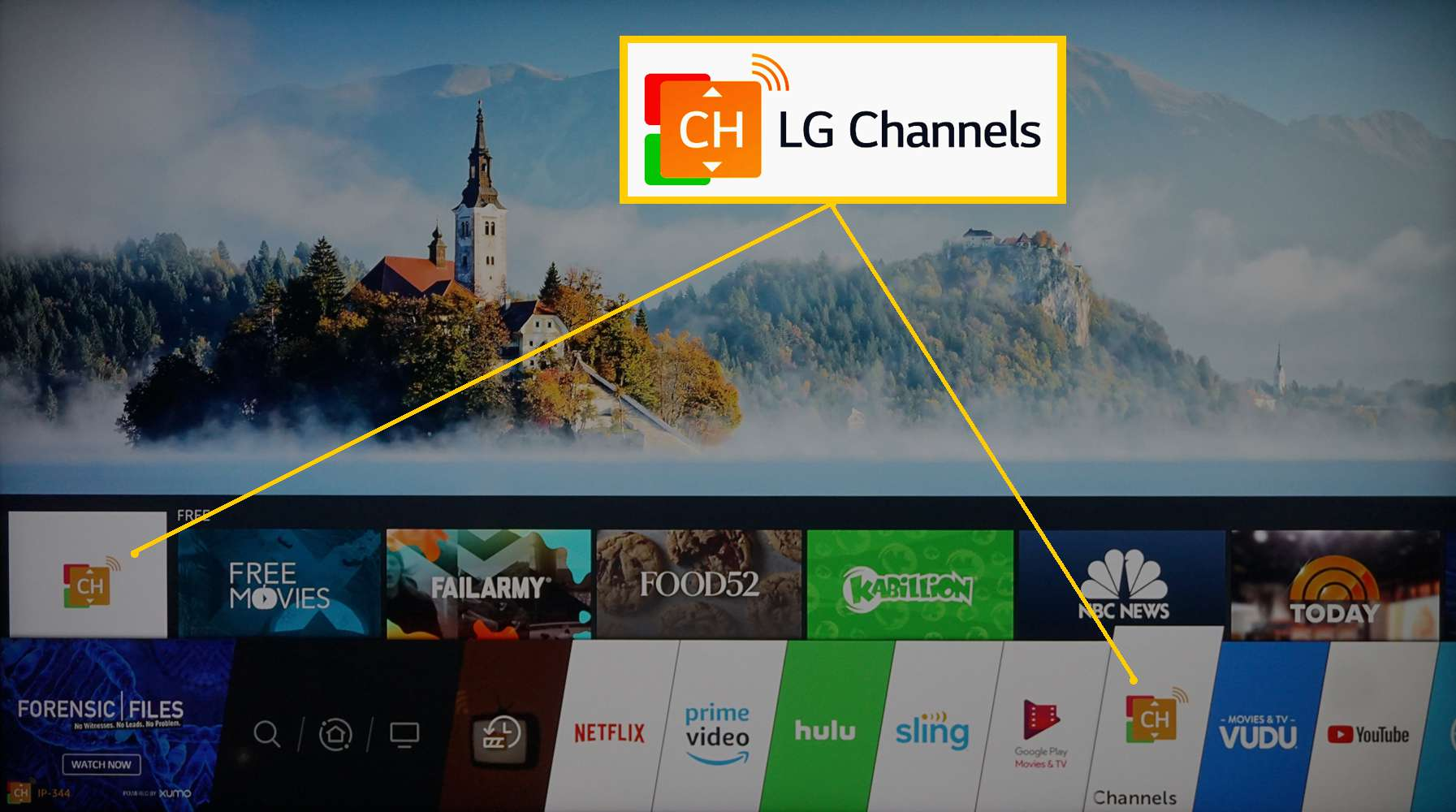 LG Channels Selection on Home Menu