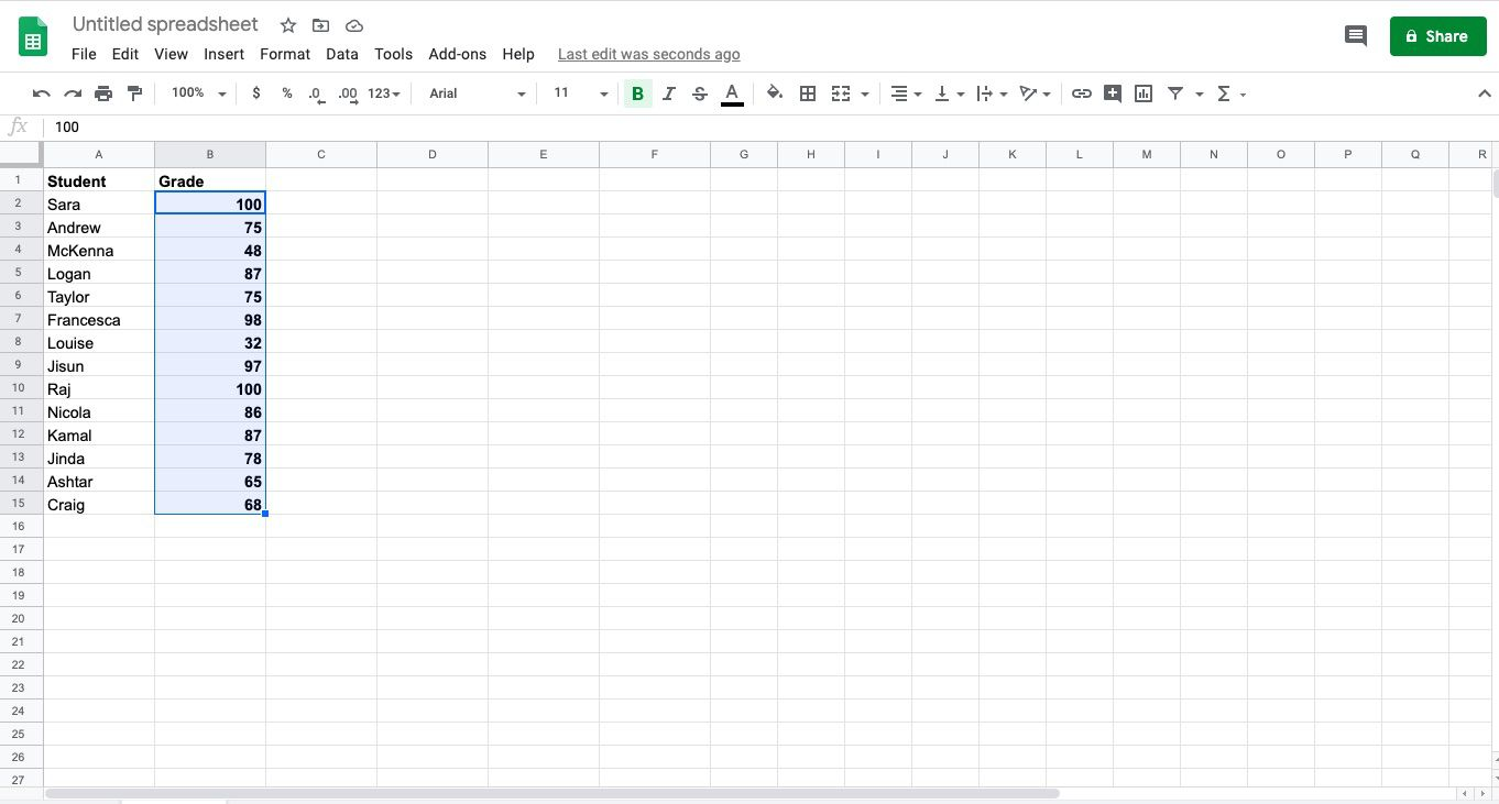 Select the cell range where you want to apply conditional formatting