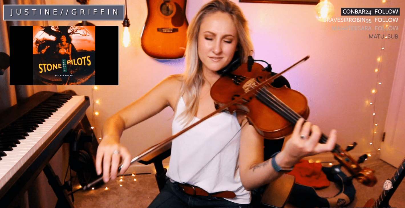 Justine Griffin performing on a Twitch stream.