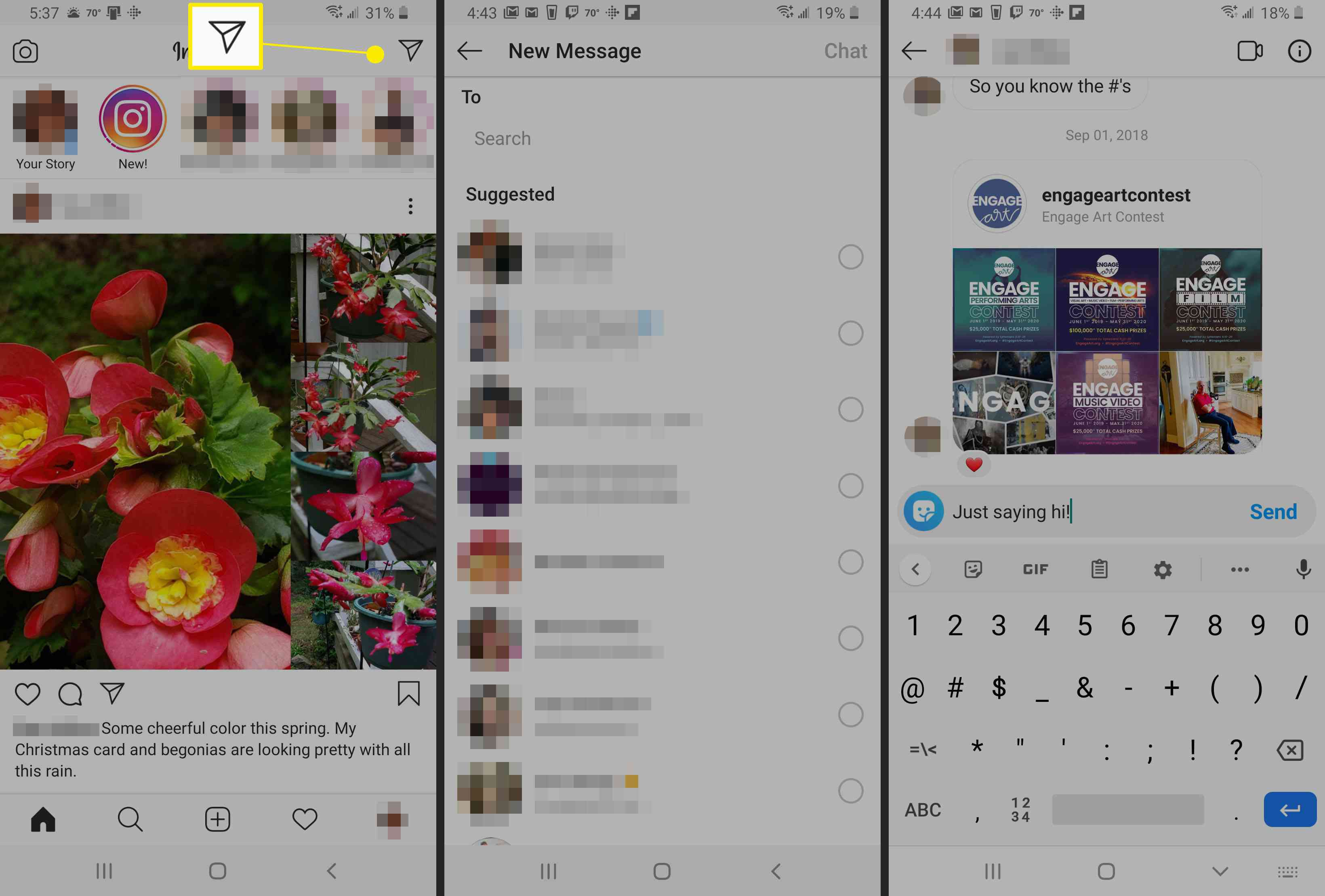 Chat within Instagram.
