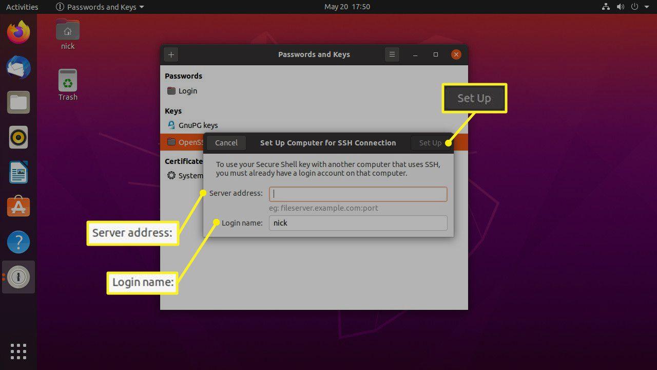 Ubuntu Seahorse SSH server setup