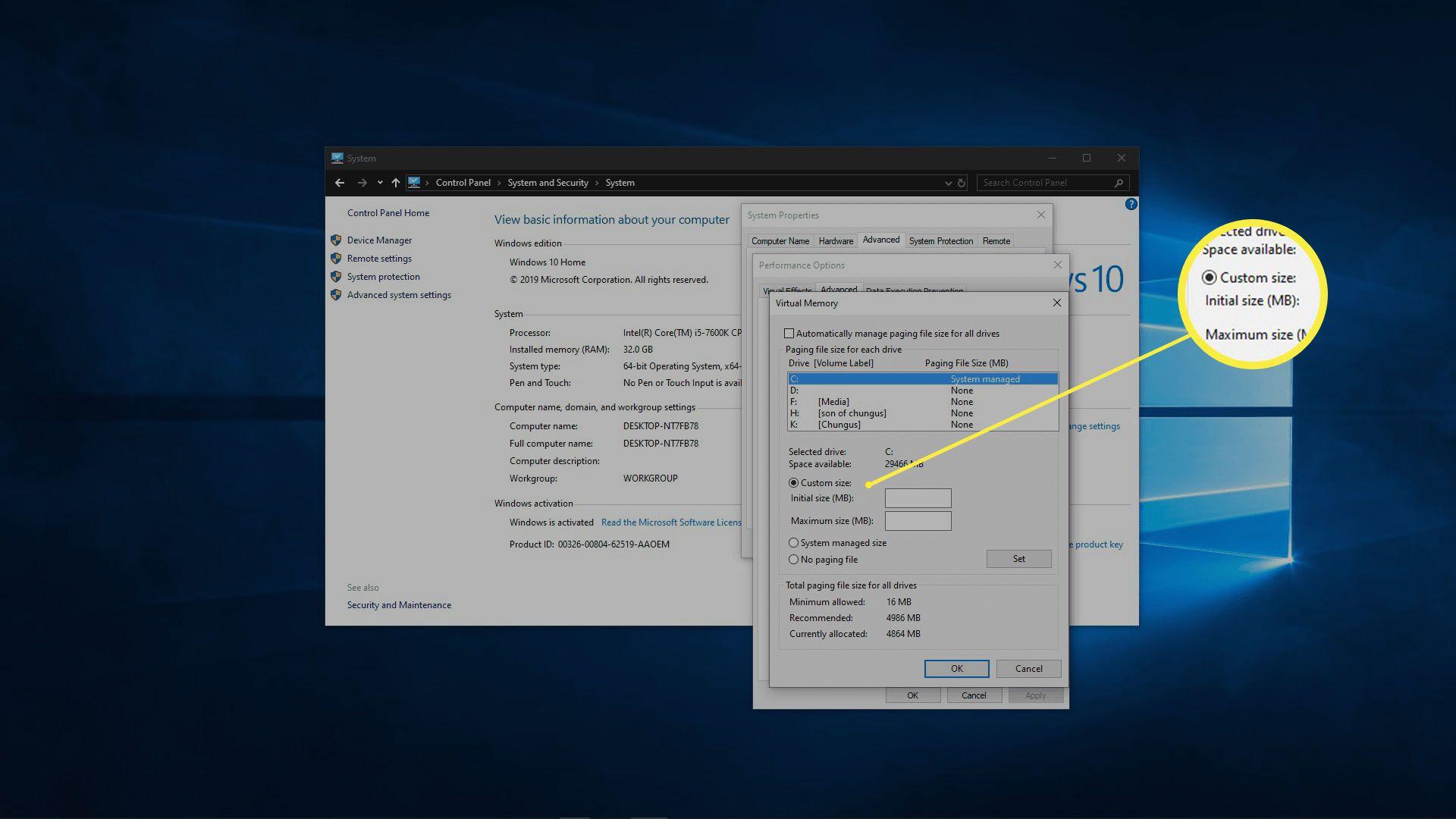 A screenshot of adjusting virtual memory in Windows 10.