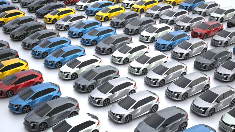 Illustration showing rows and rows of electric cars in different colors.